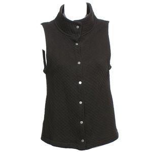 Black Organic Cotton Quilted Diamond Vest XXS